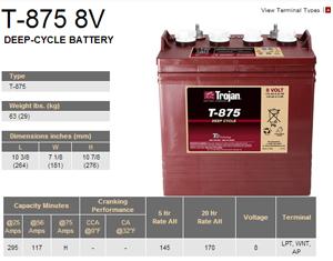 Trojan 8 volt T-875 Golf Cart Battery