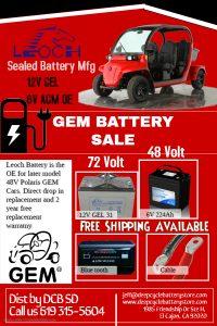 GEM Car Battery Wholesale